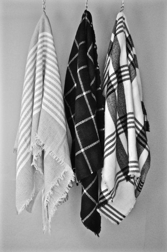 Blanket Scarf Gift for Her Black Friday Plaid Scarf Check Scarf Plaid Shawl Tartan Shawl Zara Scarf Winter Accessories Women Accessory
