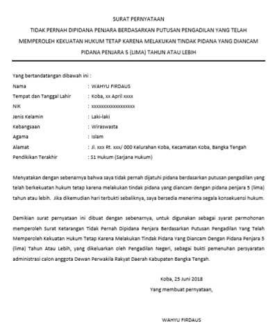 Surat Keterangan Tidak Pernah Di Pidana Dari Pengadilan Negeri