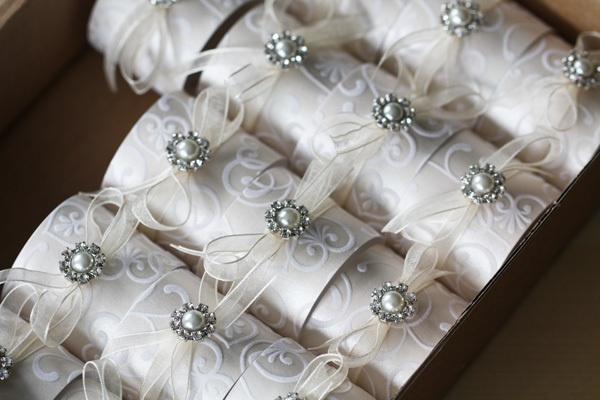Handmade Ivory Flock Serviette Ring £1.85