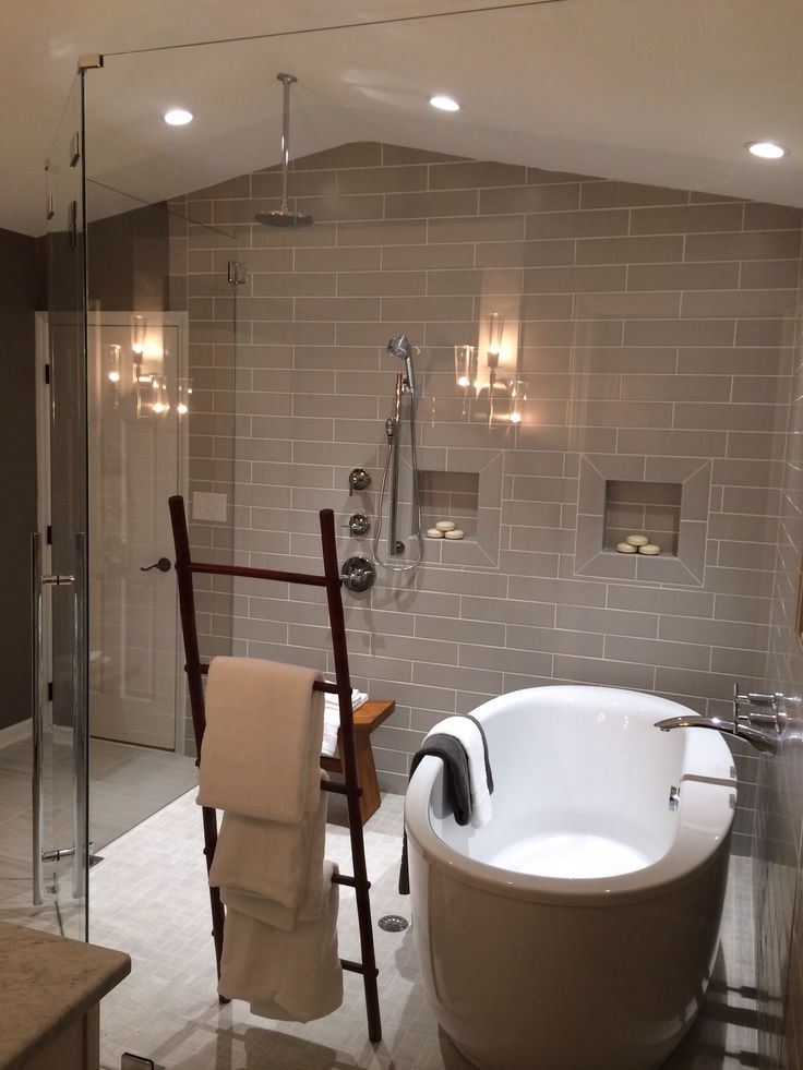 Stand Alone Bathtub Inside Wet Room Shower Creative Towel Holder Made From A Decorative Ladder