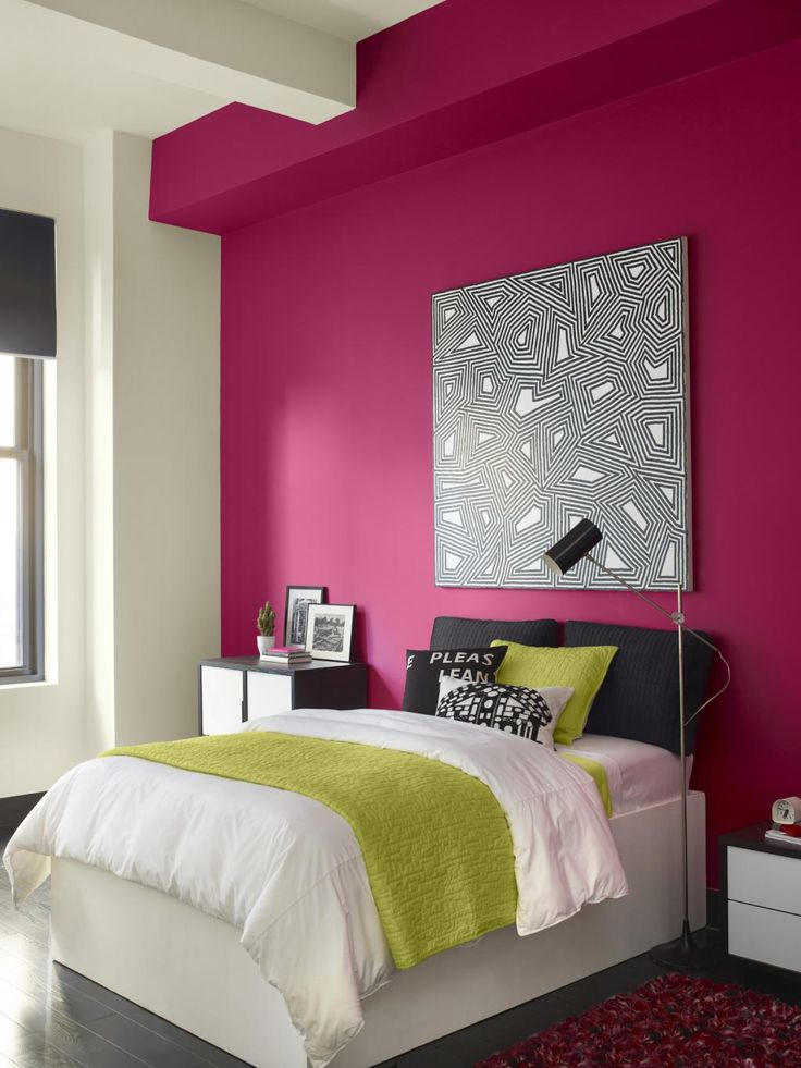 Interior Design, Teen Bedroom Color Combination With Bright Pink White Color:  Home Interior Colour Design Combinations Ideas Part 35