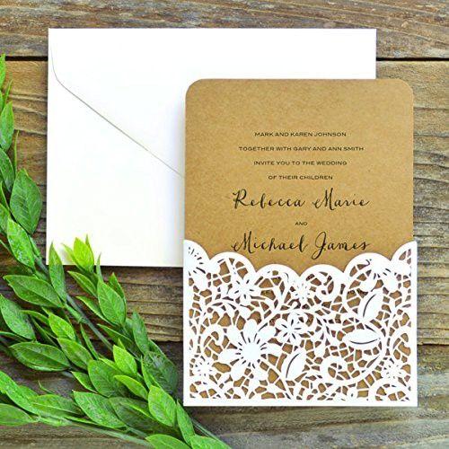 Laser Cut Lace Pocket Invitation Kit