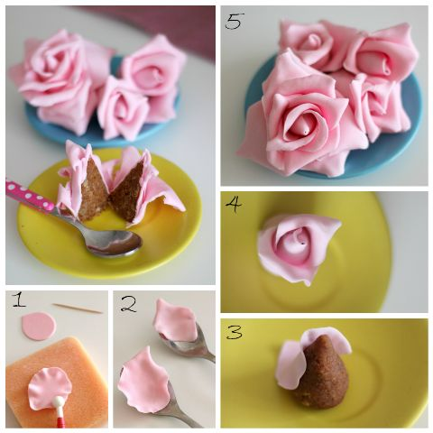 step by step cake pops rose; Great for decorating a big cake with.