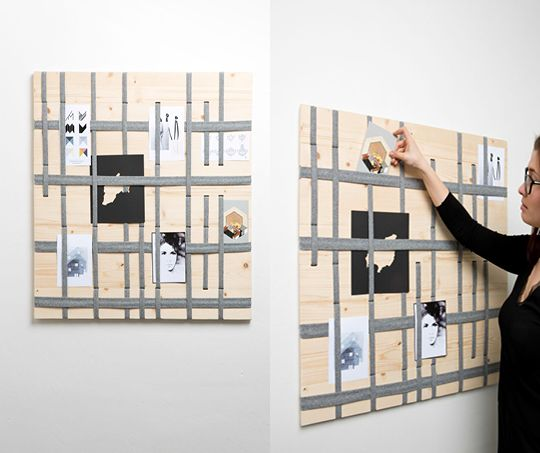 """Why use pins if you can use wool band and give a new look to the classic pinboard - """"Cross Bulletin Board"""" by Lucia Košťálová"""