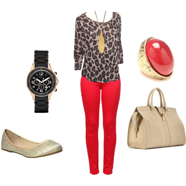 My Red and Leopard Print outfit