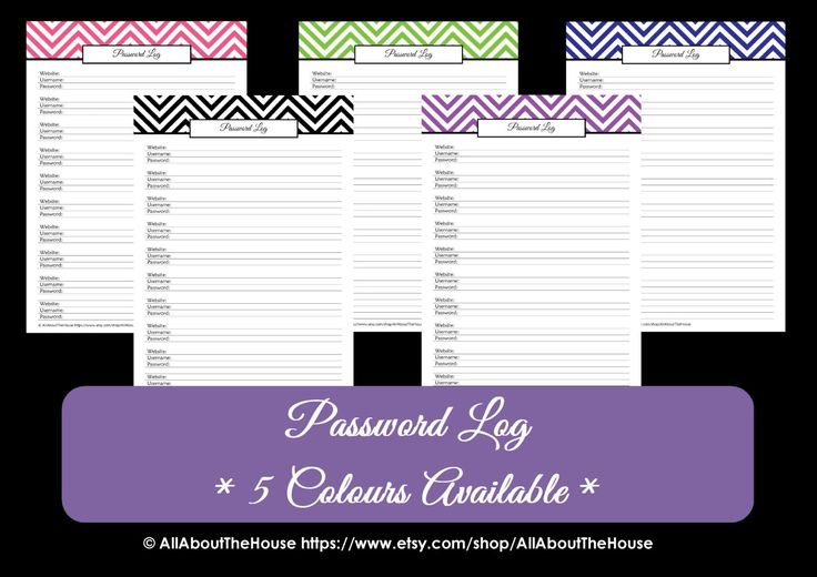 Printable Password Log - Chevron Printable - Household Binder - PDF - Chevron Password Log - ALL 7 COLOURS - Editable - Instant Download by AllAboutTheHouse on Etsy https://www.etsy.com/listing/128299279/printable-password-log-chevron-printable