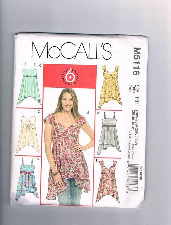 McCalls M5116 Women's Plus Size Tops Pattern UNCUT Sizes