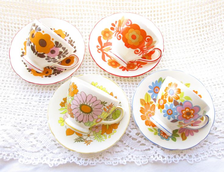 Midcentury Modern Instant Tea Party Set, 4 Vintage English China Teacups & Saucers, Floral, 1960s, 60s, 1970s, 70s, Wild Psychadelic Flowers Mod Mad Hatter Cup Collection by High Tea for Alice by HighTeaForAlice on Etsy