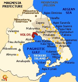 map of greece - pelion