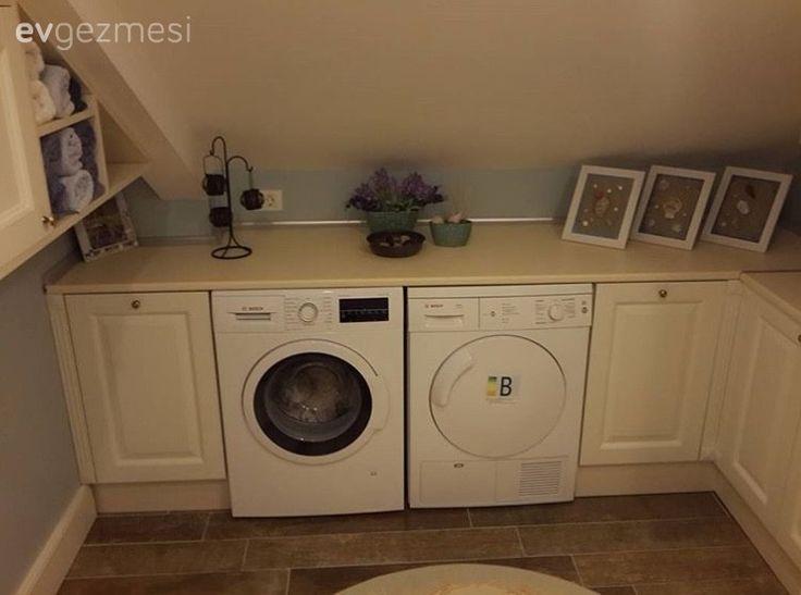 Giyinme odası çamaşır odasına çevrilmiş ve çok daha kullanışlı bir alan elde edilmiş..
