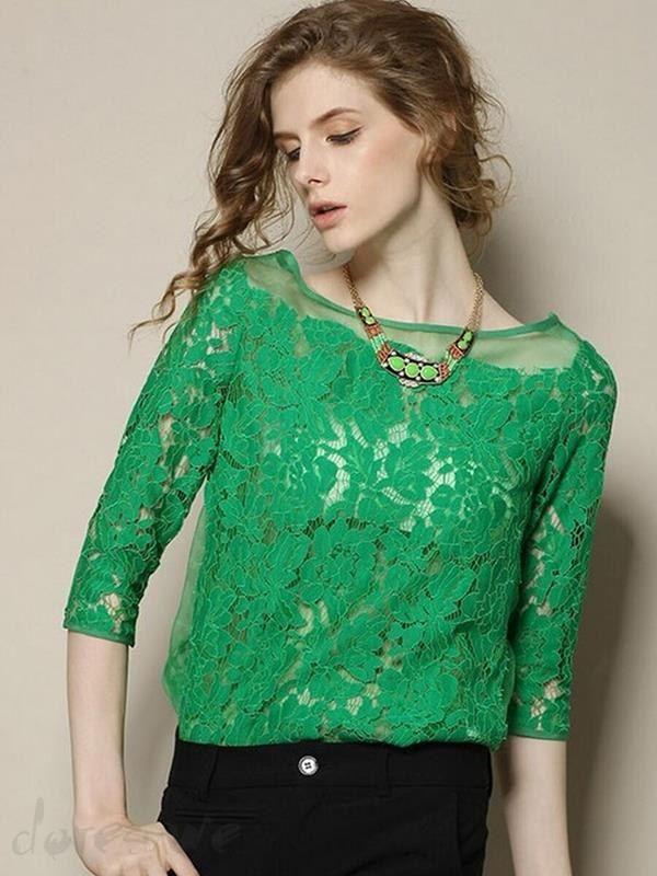 Doresuwe.com SUPPLIES レディース新作レースTシャツ七分袖Tシャツ トップス ブラウス (8)