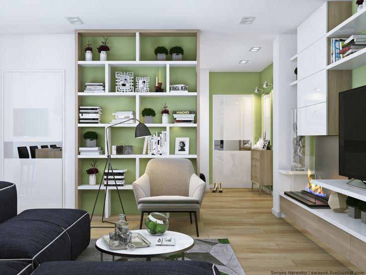 Apartment, Wonderful Green Bookshelf Living Room ~ Stunning Apartments That Shine with Beautiful White