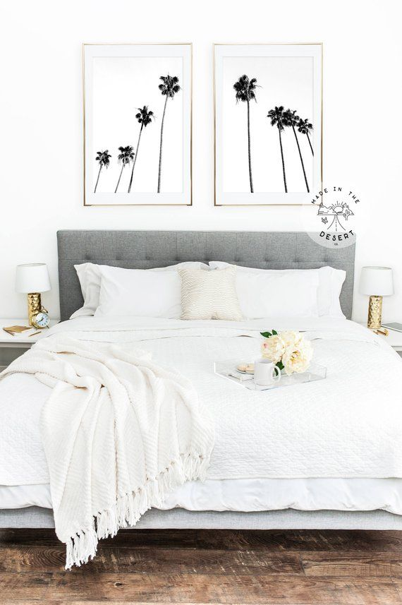 Black And White Palm Trees Print Set Of 2 Modern And Chic Wall Art Home Decor Bedroom Wall Decor Bedroom Simple Bedroom