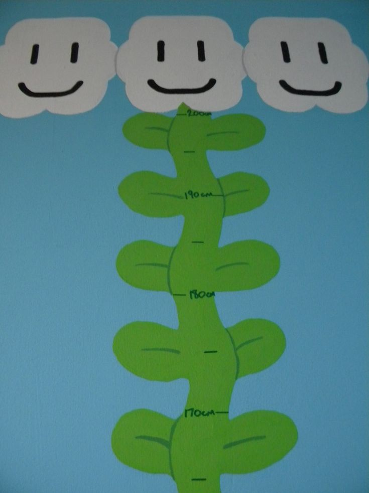 Super Mario bedroom mural : Beanstalk height chart