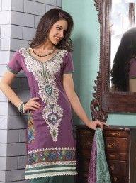 Light Purple Green Cotton Classic Salwar Kameez