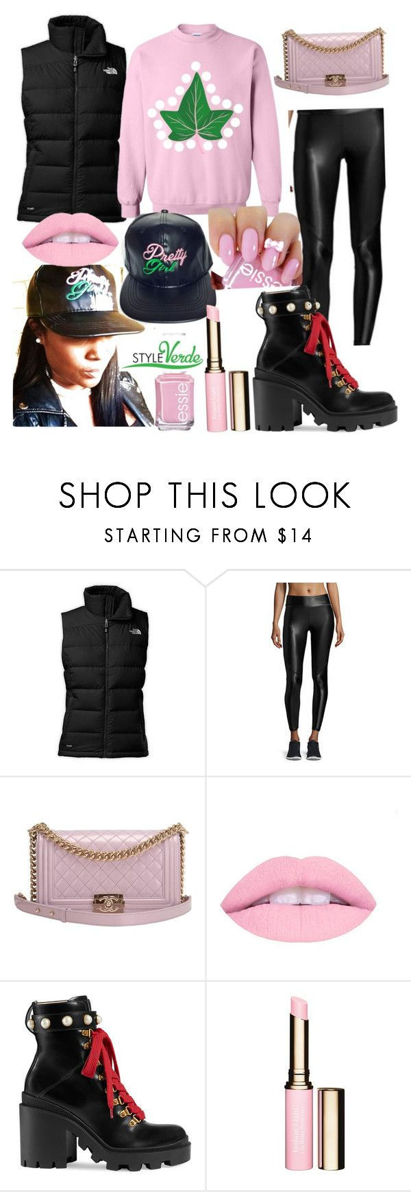 """Snow Ivy"" by cagreinvented on Polyvore featuring The North Face, Alala, Chanel, Gucci, Clarins and Essie"