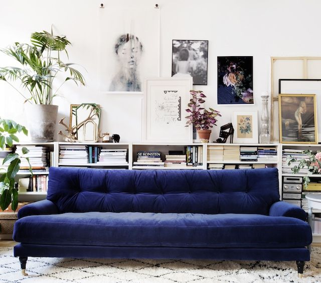 20 Interiors That Prove The Velvet Trend Is Going Strong Blue SofaBlue SofasVelvet CushionsBathrooms DecorDeep