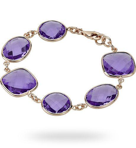 Bracciale in argento rosso 925 con 73.00 ct. di ametista di sintesi - Zoccai 925 #violet #silver #bracelet