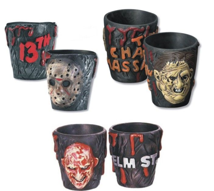 Horror Shot Glasses. Freddy, Jason, Leatherface.