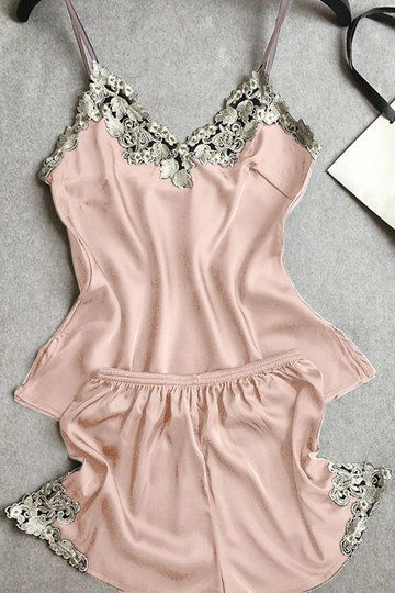 Bring attention to this pajamas suit. It is adorned with v-neck, sleeveless, lace details and drawstring waist. With silk materials, it would give you more comfortable dressing experience.  - Casual style - V neck - Lace details - Adjustable shoulder straps - Imitation silk - Elastic strap - Short length - Regular fit