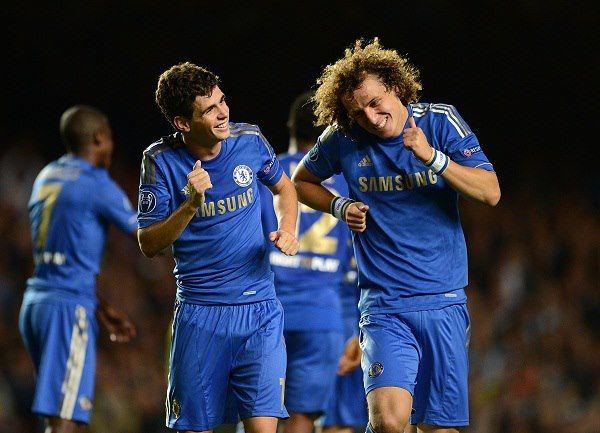 Oscar celebrates after scoring with team mate David Luiz — Stamford Bridge.
