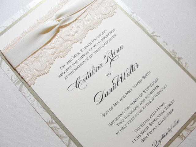 ANNIKA Elegant Real Lace Wedding Invitations Via Etsy