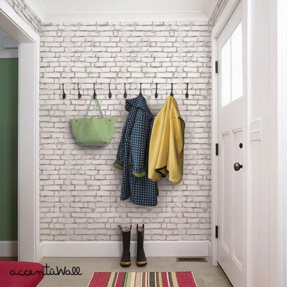 White Brick Wallpaper Aged Vintage Look Self Adhesive Fabric Etsy In 2020 White Brick Wallpaper Brick Wallpaper Peel And Stick Brick Wallpaper