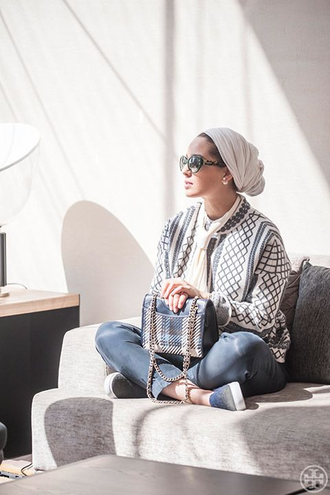 Kuwait Blogger Ascia AKF in the Tory Burch Merino Jacquard Sweater Coat, Marion Tweed Medium Bag and Stardust Slip-On Sneaker
