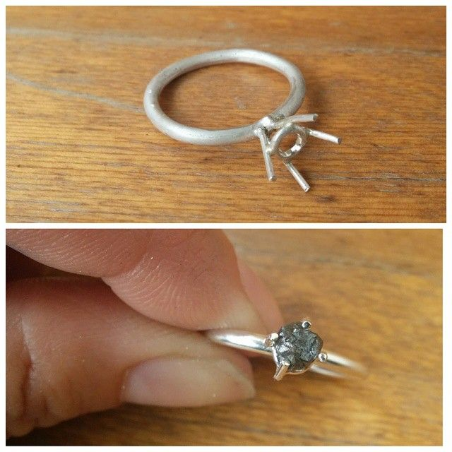 Process Shots! We're so in love with this beautiful rough black diamond we couldn't wait 'til it was finished to share this fun piece! ‪#‎process‬ ‪#‎diamond‬ ‪#‎diamondintherough‬ ‪#‎solitaire‬ #process ‪#‎slashpiledesigns‬