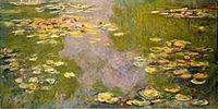 Claude Monet - Water Lilies, 1919 Impressionism: Loosened brushwork and lightened their palettes to include pure, intense colors. They abandoned traditional linear perspective and avoided the clarity of form Water Lilies contain light, gentle colours. It lacks definite form for the lilies, as they are loosely painted into the shape of a water lily.