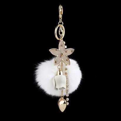 Genuine Rabbit fur ball pom pom bag charm tassel by YogaStudio55