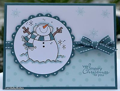 Handmade A Very Merry Christmas to You Snowman Card Made w Some Stampin Up Prod | eBay