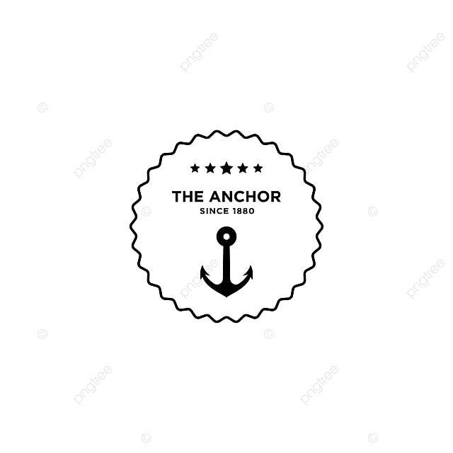 مرساة ناقلات الرجعية علامة البحرية مع مرساة Vector Logo Emblem Logo Anchor Logo