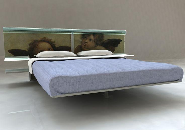 letto vetro curvato con serigrafia