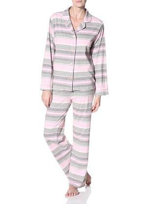 40 Winks Women's Striped Notch Collar PJ Set