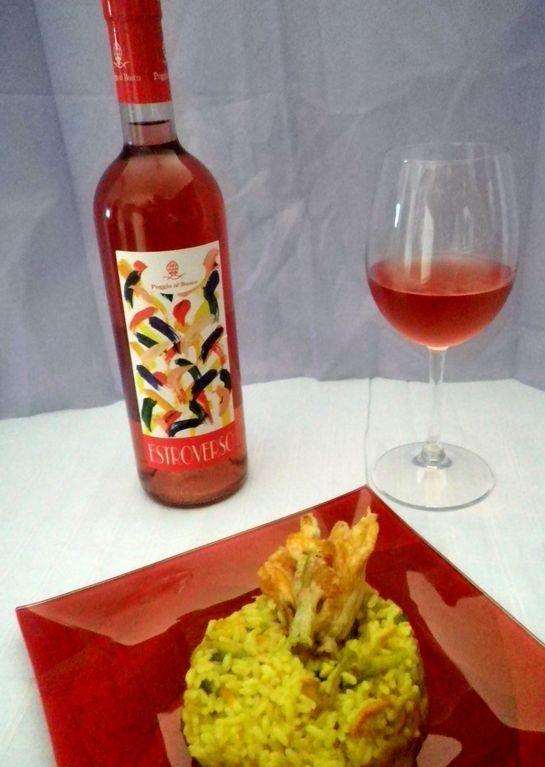 Risotto con fiori di zucca zafferano e Vino Rosato. #ricetta di @saltainpadella