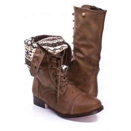 TAUPE FAUX LEATHER LACE UP FOLD OVER COMBAT BOOTS,Women Boots ...