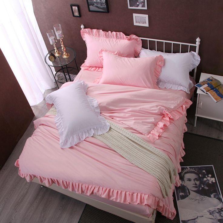 100%Cotton 4/6Pcs Korea Style Girls Bedding sets Queen Size Pink Duvet cover set Fitsheet Bedsheet Pillowcases #Affiliate