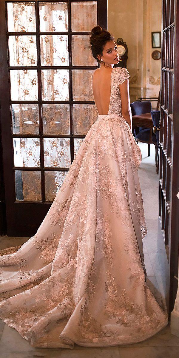 27 Peach & Blush Wedding Dresses You Must See ❤ peach blush wedding dresses a line low back lace cap sleeves julie vino bridal ❤ See more: http://www.weddingforward.com/peach-blush-wedding-dresses/ #weddingforward #wedding #bride