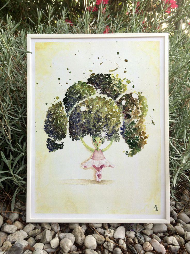 Illustration poster déco chambre décoration murale cuisine, danseuse tutu et brocoli légume vert #etsy #art #peinture