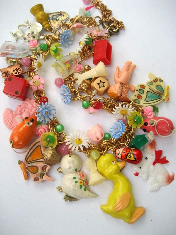 I spy...The Toy Parade - A Vintage Toy and Flower Necklace