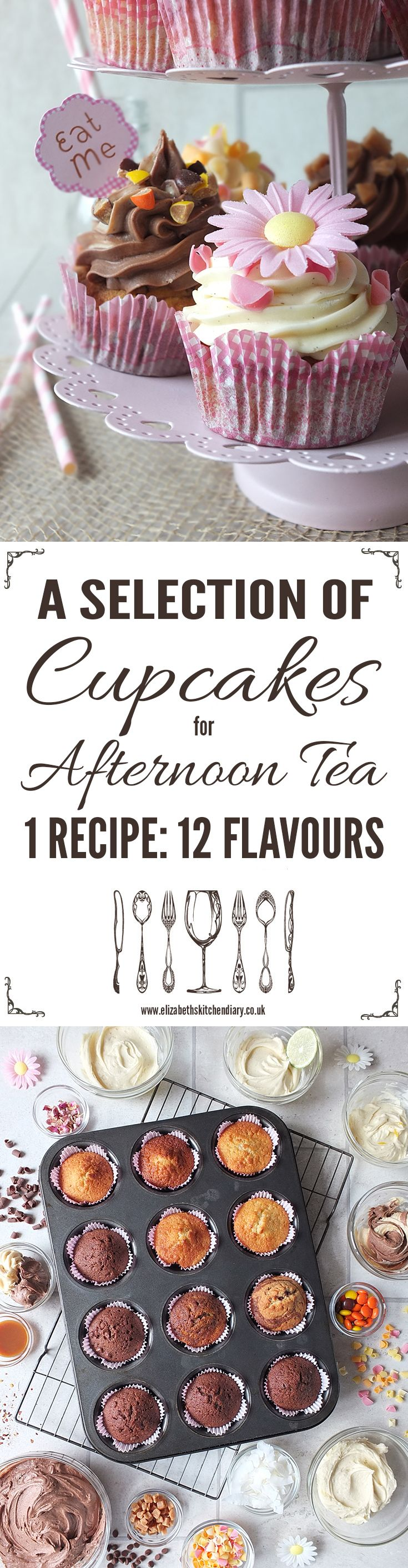 Cupcakes are an integral part of an Afternoon Tea. My recipe makes one batch with twelve different flavours!