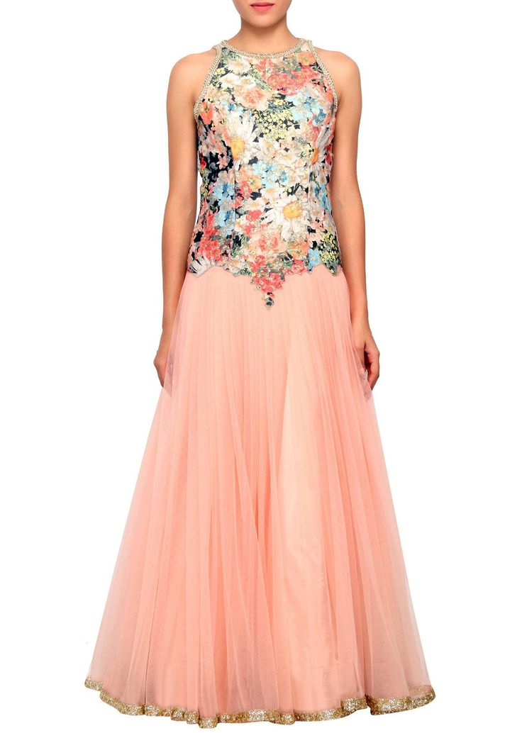 Peach gown featuring with digital print bodice only on Kalki - Kalkifashion.com