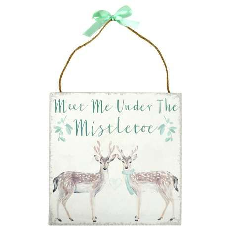 Featuring a deer and mistletoe design, this festive decorative plaque is crafted from durable materials in a soft green colourway....