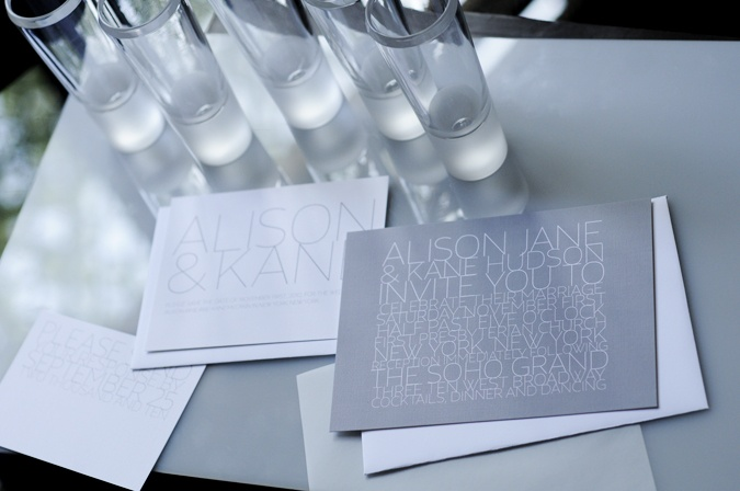 Contemporary grey wedding invites