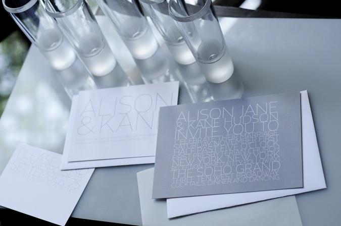 Contemporary grey wedding invites