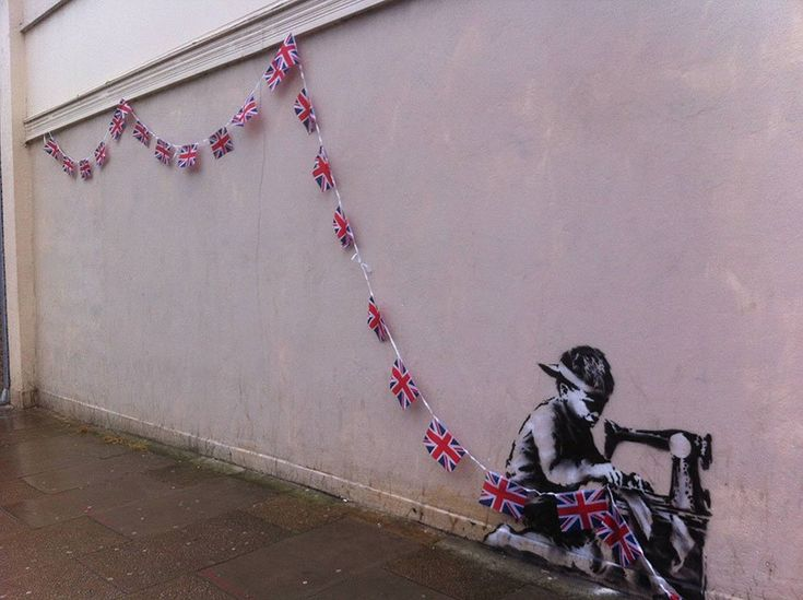 UK Flags, London, UK - interactive street art by Banksy via The Mind Unleashed