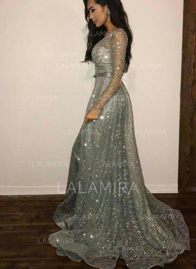 US  193.69  A-Line Princess Scoop Neck Court Train Evening Dresses With  Beading Sequins 7dc675106