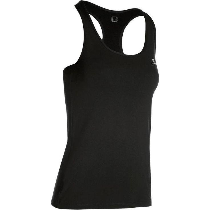 13,99TL - Kadın Kardiyo Kıyafetleri - MY TOP ASKILI KADIN FİTNESS TİŞÖRTÜ-SİYAH - DOMYOS