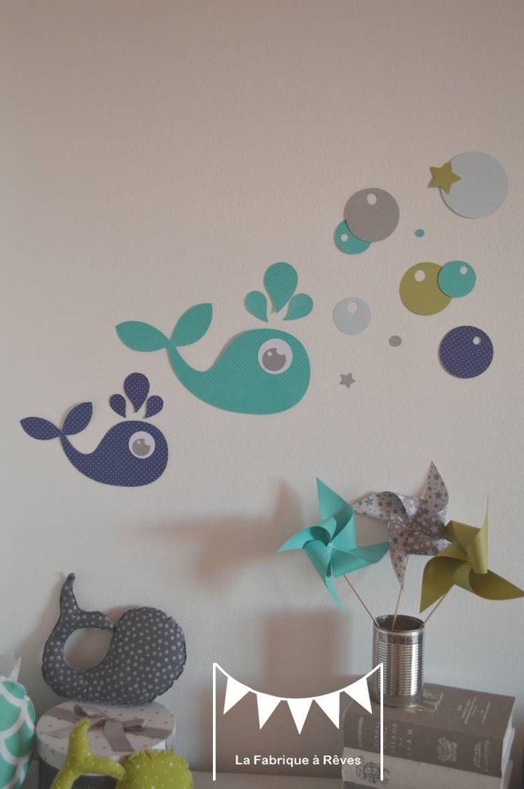 Sur commande - stickers baleines vert anis turquoise bleu marine gris blanc : Décorations murales par la-fabrique-a-reves °°° TOUS DROITS RÉSERVÉS°°°